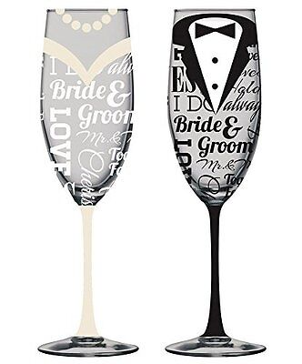 Hand-Painted Bride and Groom Champagne Flutes - Set of 2