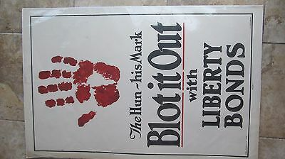 """Rare Orig. WWI MILITARY PATRIOTIC Liberty Loan Poster, """"BLOT OUT THE HUN"""", Blood"""