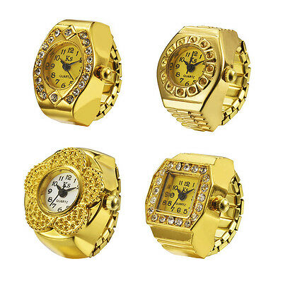 Fashion Ladies watch Gold Quartz Watch Inlaid Rhinestone Pattern Ring Watch GYTH