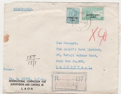 J120 1956 India Forces LAOS Registered *FPO 744* RARE Commercial Civilian Mail