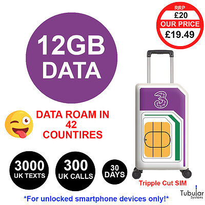 Three UK Pay As You Go SIM INCLUDES 12GB DATA ROAM, 300 UK Calls, 3000 UK Texts