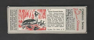 1960,typhoo Tea,childrens Series By Pond And Stream,*great Crested Grebe*