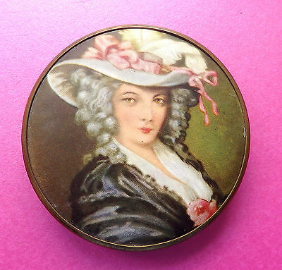 Vintage Brass Powder Compact,printed Silk Portrait Of Lady In Large Hat Top