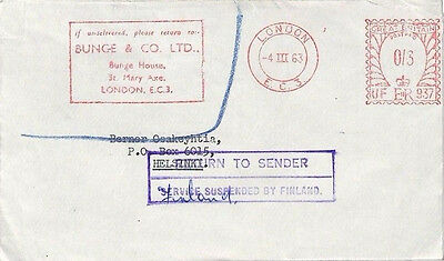 BA113 1963 GB INTERRUPTED MAIL RETOUR *Service Suspended By Finland* Super Cover