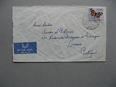 MOÇAMBIQUE, cover to Portugal 1957, insect butterfly