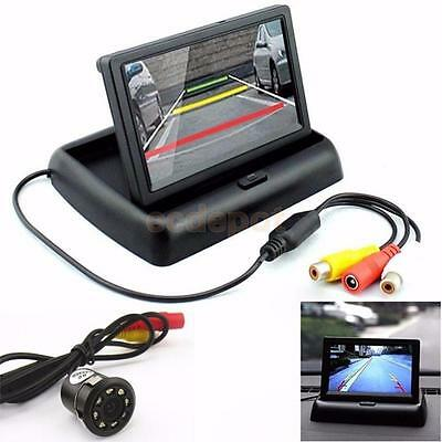 Car Foldable LCD 4.3″ Monitor Wireless IR Rearview Parking Reversing Camera Kit