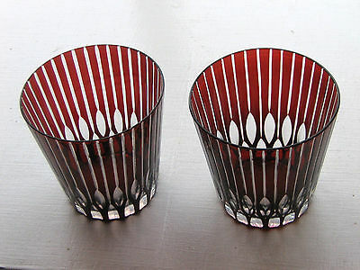 Pair (2) x Bohemian Red Cut to Clear Tumblers Whisky/ Water / Juice