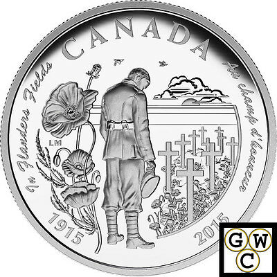 2015 100th Anni of In Flanders Fields Proof $20 Silver Coin 1oz .9999 (17317)