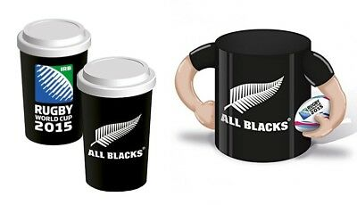 Rugby Ceramic Coffee Mug And Travel Cup New Zealand All Blacks 2015 World Cup