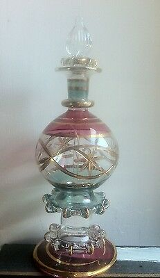 Very Fine Glass Perfume Dispenser with Gold, Blue & Pink Colour Detail.15cm Tall