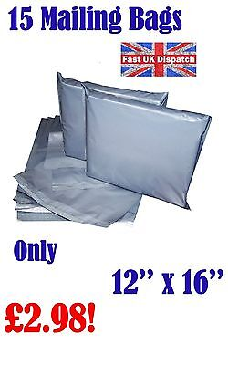 15 Mailing Bags 12 x 16 Strong Grey Plastic Poly Postal Postage Auct 2-2