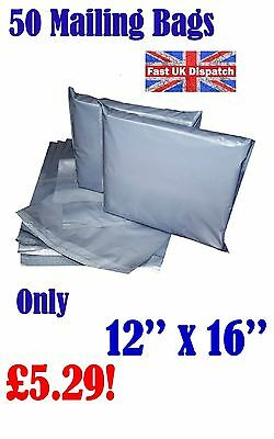 50 Mailing Bags 12 x 16 Strong Grey Plastic Poly Postal Postage Auct 9-2