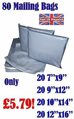 80 Mixed Mailing Bags Strong Grey Plastic Poly Postal Postage 4 Sizes Auct 14-28
