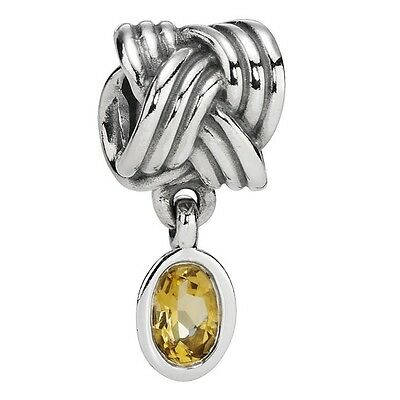 Retired Pandora Oxidised  Silver Dangle Tied Together And Beer Quartz  - 790476B