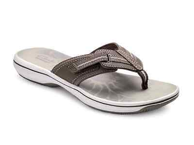 Clarks Brinkley Jazz Casual Flip Flops Sandals in Pewter Size 9 M Brand New