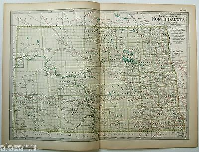 Original 1902 Map of North Dakota - A Finely Detailed Color Lithograph