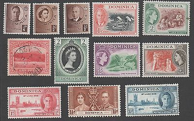 Dominica. Accumulation of 12 early- mid-period stamps. MH, cancelled