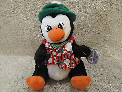 Coca-Cola Penguin  In Striped Vest 1999 Bean Bag Plush Style # 0205