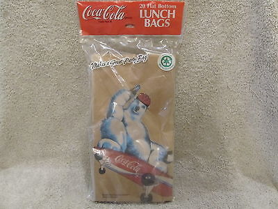 Coca-Cola Skateboarding Polar Bear Brown Paper Lunch Bags NIP 1998 FactorySealed