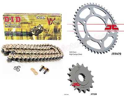 Yamaha FZ6 (2008 Model) DID Gold X-Ring Heavy Duty Chain & JT Sprockets Kit Set