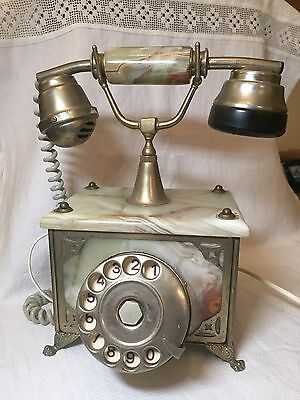 Vintage Marble and Brass Rotary Dial Telephone