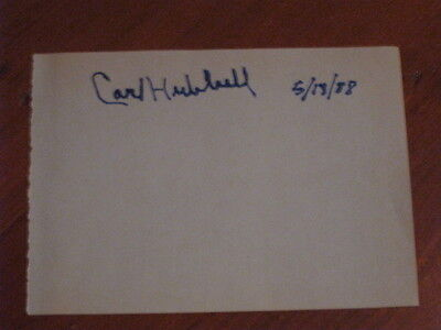 Carl Hubbell Autographed Index Card JSA Auc Certified