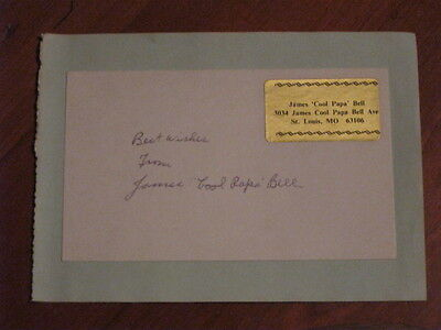 James Cool Papa Bell Autographed Index Card JSA Auc Certified