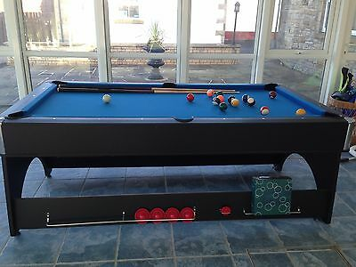 Mightymast Leisure Snooker Pool Table Plus Air Hockey With Balls, Cues Etc