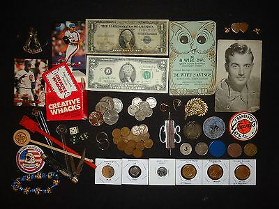 Junk Drawer - Silver Cert. - $'s, 50C, 5C,1C , Buttons, Cards, & More Stuff