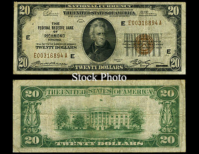 1929 $20 Federal Reserve Bank Note Depression Era Currency