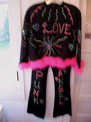 "GIRLS ""SAM"" VINTAGE1960-70 HIPPIE 2pc HAND PAINTED SHIRT-BELL BOTTOM PANTS-12-14"