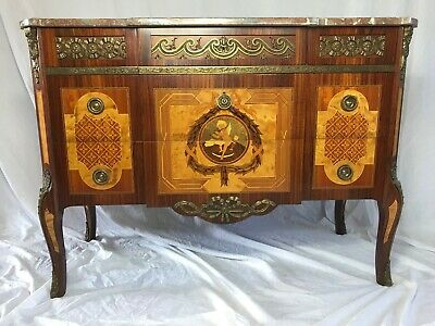 Quality Fine Antique French Regency Style Marble Canted Marquetry Credenza Chest