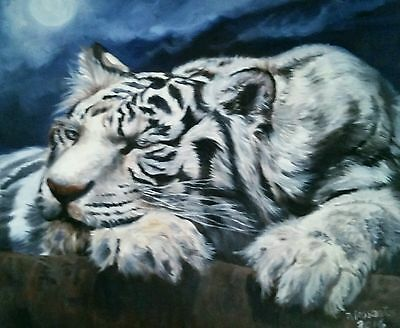 """WHITE TIGER original oil on canvas 16x20"""" Beautiful MAKE AN OFFER!"""