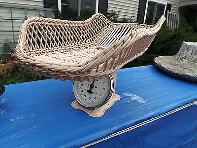 Vintage Pink Jay Bee Baby Scale with Pink Wicker Weighing Basket, 25 lbs.