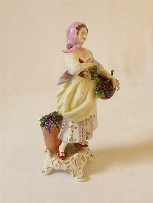Early 20Th C Volksted Porcelain Figure Of A Grape Seller