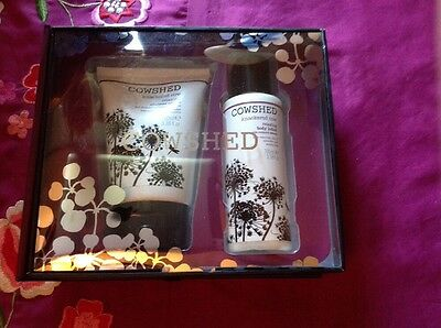 Cowshed Knackered Cow Gift Set, Relaxing Shower Scrub & Body Lotion Both 100ml