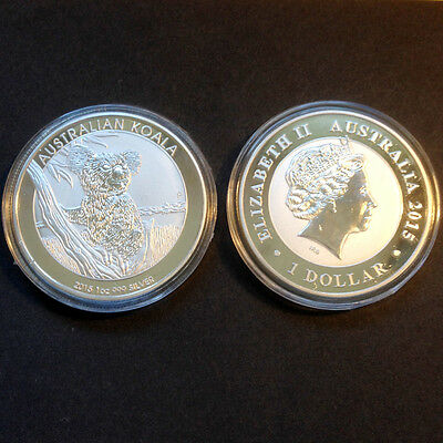1oz Commemorative Silver Plated Coin -- 2015 Australian Koala Coin