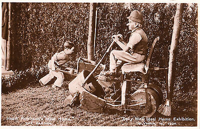 Ideal Home Exhibition. Heath Robinson. 'The Garden'. Lawnmower. RP. Unposted.
