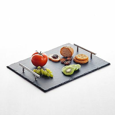 "15.73"" Natural Slate Stone Rectangle Placemats Hand Made with Carrying Handle"