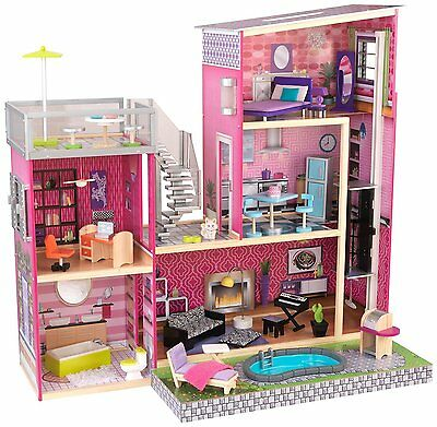Dollhouse Barbie Size w/ Furniture Wooden Girls Girl Playhouse Doll Play House N