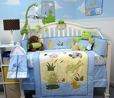 CRIB BEDDING SET PLAYFUL FROGS Infant Baby Boy Nursery 14 Piece Quilt Sheet .