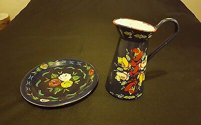 Vintage Hand Painted Enamel Jug Pottery Plate Barge Ware Narrow Boat Canalware