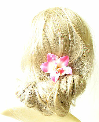 Pink White Orchid Flower Hair Clip Rockabilly 1950s Vintage Hawaiian Pin 1269