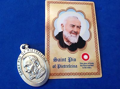 "St Padre Pio Large Saint Medal with Relic Holy Card Healing Medal-1-3/4"" Italy"