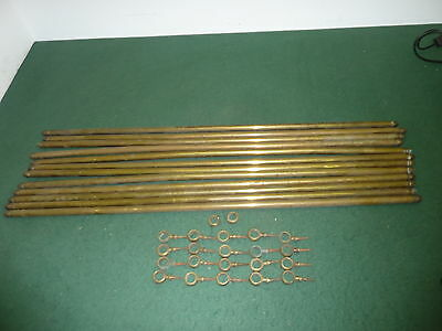 Set of 12 84cm Brass 16mm Thick Carpet Stair Rods & 20 Brackets with Screws
