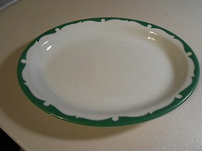Vintage Shenango China White with Green Trim Vintage Platter-Everglade?
