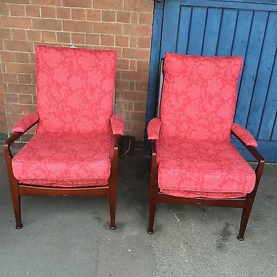 Pair Of Vintage Cintique Armchairs With New Laura  Ashely Covers