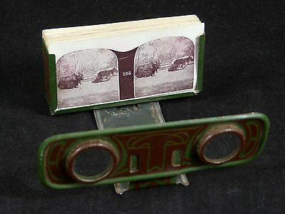 Antique Stereo Viewer Stereoscope w/ Cards Views Metropolitan Syndicate Nouveau