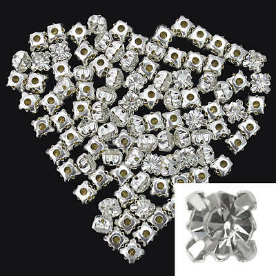 100 X Crystal Silver-Plated Loose Spacer Beads For DIY Jewellery Making