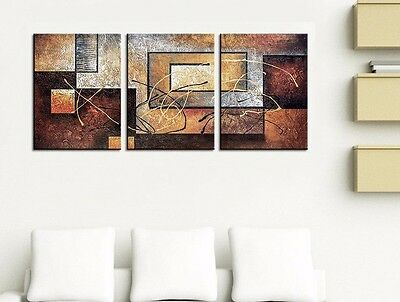 Large Modern Contemporary 3-Piece Oil On Canvas Painting Abstract Wall Art Brown